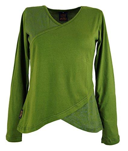 GURU SHOP Langarmshirt -chic, Damen, Grün, Baumwolle, Size:S (36), Pullover, Longsleeves & Sweatshirts Alternative Bekleidung