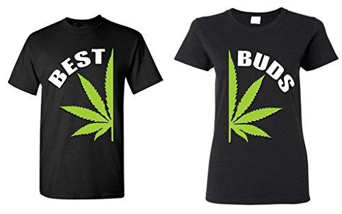 shop4ever Best Buds Pot Leaf Marijuana Weed Matching T-Shirts- Men 3XL Black//Women 3XL Black