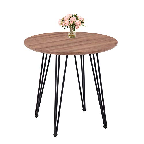 GOLDFAN Modern Dining Table Round Kitchen Wooden Table and Black Powder Coated Legs,80 cm (Table Only)