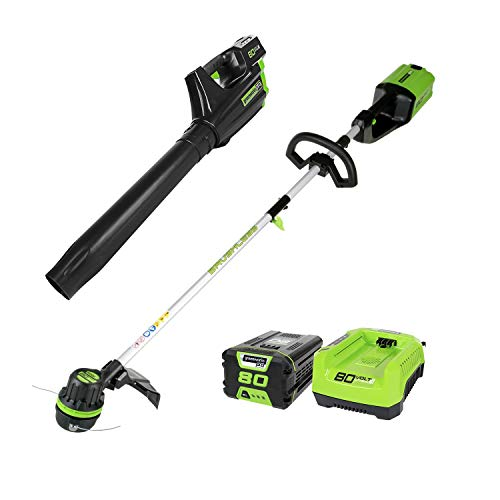 Greenworks PRO 80V Cordless Brushless String Trimmer + Blower Combo, 2Ah Battery Included STBA80L210 (Renewed)