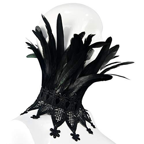 sigando Schwarz Gotisch Viktorianisches Wirklich Feder Halsband Choker Schal (YM-012)