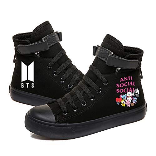 HJJ Zapatos BTS BTS Alto-Top de los Zapatos de Lona |Zapatos Casuales y de los Hombres de Las Mujeres |Antideslizante Zapatillas de Deporte |Zapatos de Lona de impresión Hip-Hop KPOP Jung Kook Jimin