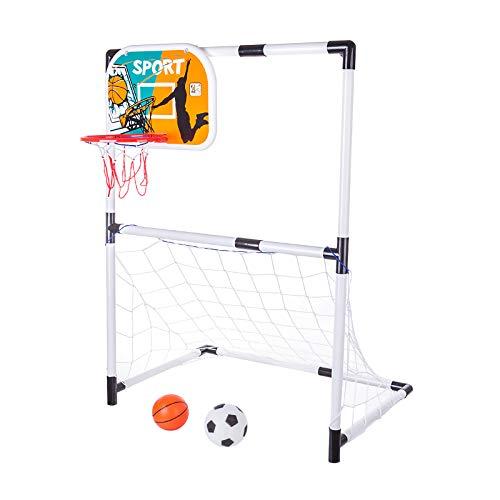 YOU339 Portería de fútbol, juego de baloncesto, 2 en 1, para interiores y exteriores, para montar porterías de fútbol