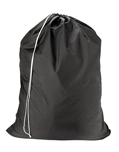 Product Image of the Nylon Laundry Bag - Locking Drawstring Closure and Machine Washable. These Large Bags Will Fit a Laundry Basket or Hamper and Strong Enough to Carry up to Three Loads of Clothes. (Black)