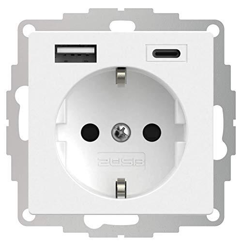 2USB inCharge PRO A/C USB-Steckdose, mit integriertem USB Ladegerät (max. 5V/3A/15W) & ChargeMAX Schnellladetechnik, 1xUSB-A + 1xUSB-C Anschluss, VDE zertifiziert