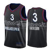 Iverson Embiid Simmons アイバーソンエンビードシモンズメンズバスケットボールジャージー、76ers 2021ニューシーズンシティエディションカジュアルスポーツトレーニングコンペティションジャージースウェットシャツ、速乾性通気性 Black 3-XL