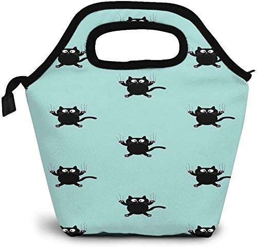 Humorous Animal Art Funny Cute Black Cat Bolsa de almuerzo con aislamiento personalizado Bento Box Picnic Cooler Bolso portátil Bolsa de almuerzo para mujeres, niñas, hombres, niños