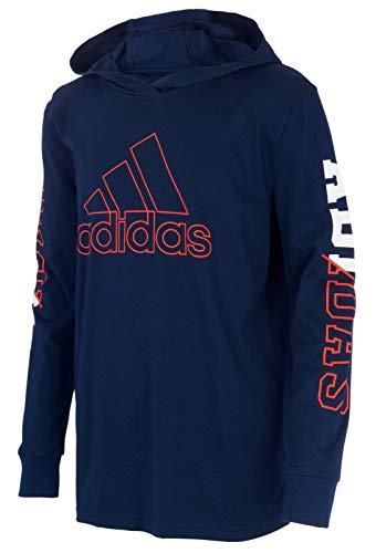 adidas Boys' Big Long Sleeve Hooded Logo T-Shirt (Medium, Navy/Orange)