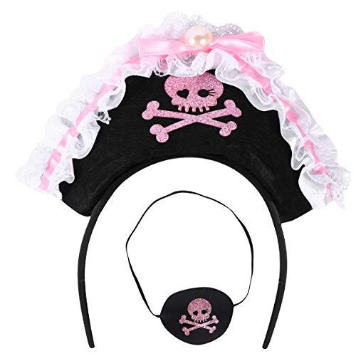 FOMIYES Lot de 2 serre-têtes de pirate avec motif tête de mort - Rose