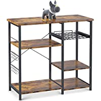 ODK 3-Tier Kitchen Storage Shelf with 10 S-Shape Hooks (Brown)