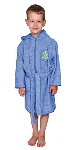 Worner Peignoir de bain en tissu éponge du Sud Motif dragon Bleu jeans clair 110/116