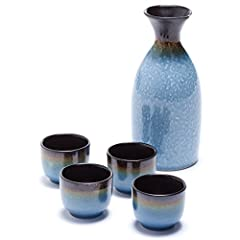 Enjoy your favorite sake with the gorgeous Oenophilia Osaka Sake Set A lovely representative of the Japanese culture, this contemporary design easily accommodates any home décor Made of durable, beautiful ceramic materials, this set features lovely h...