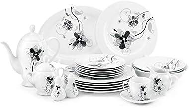 Royalford 49 pcs Porcelain Dinner Set Round, White, RF6018