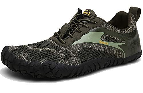 Voovix Barfußschuhe Herren Damen Outdoor Fitnessschuhe Traillaufschuhe Atmungsaktive rutschfeste Laufschuhe(Olive,43)