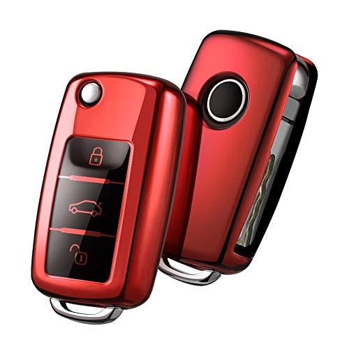 Funda para Llave DE para Coche VW VW Polo Golf 6 Skoda Seat - 2-3 Botones Carcasa [Suave] de [TPU] para Llaves - Cover de Mando y Control de Auto en (Rojo)