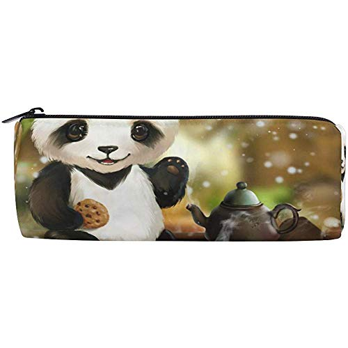 Bleistiftbeutel Netter Tier-Panda-Tee, Bleistiftetui Stift-Reißverschluss-Beutelhalter Make-up-Bürstentasche für das Büro in der Schule, 7,7 x 7,7 x 20,5 cm