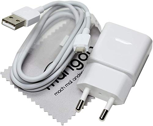 Ladekabel für Original Huawei HW-050100E01 + Datenkabel Ladegerät Weiß Micro-USB für Huawei P10 Lite, P9 Lite, P8 Max, P8 Lite 2017, P8 Lite, P8 mit mungoo Bildschirmputztuch