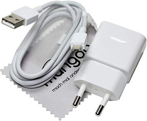 Ladekabel für Original Huawei HW-050100E01 + Datenkabel Ladegerät Weiß Micro-USB für Huawei P10 Lite, P9 Lite, P8 Max, P8 Lite 2017, P8 Lite, P8 mit mungoo Displayputztuch