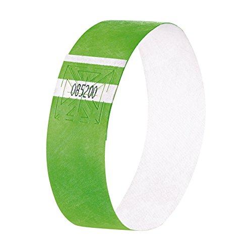 SIGEL EB212 120 Pulseras de identificación y control para eventos, personalizables, Super Soft 25,5 x 2,5 cm, verde neón