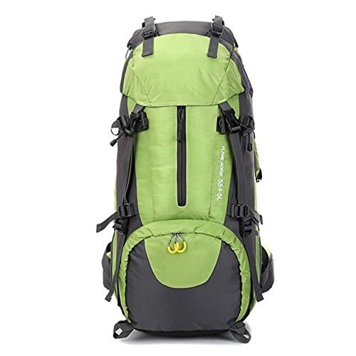 Easty Mochila 60L Impermeable Deporte al Aire Libre Senderismo Camping Paquete de montañismo Escalada en la Mochila con (Color : Verde)
