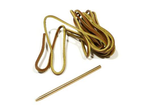 REMA 1 Paar Ledersenkel in braun/beige 120 cm mit Nadel zum einfädeln