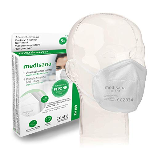 Medisana FFP2 Atemschutzmaske Staubmaske Atemmaske RM 100, Staubschutzmaske Mundschutzmaske 5 Stück einzelverpackt im PE-Beutel mit Clip - zertifiziert CE2834 - EU 2016/425