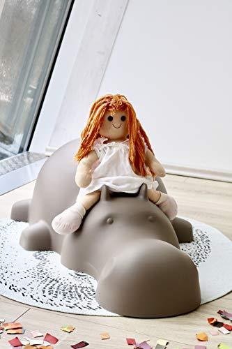Skools - Kinderstuhl, Tierhocker, Kinderstuhl Tiermotiv, für Haus und Garten, pflegeleicht, abwaschbar, Kinderhocker Tiere (Happy Hippo, taupe)