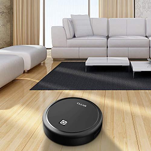 Hunpta Robot Aspirador, 3 en 1 aspiración barrido y trapeador, máquina de succión recargable por USB, limpieza automática limpia el piso duro a la alfombra (negro)