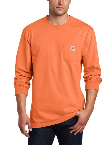 Carhartt Men's K126 Workwear Jersey Pocket Long-Sleeve Shirt (Regular and Big & Tall Sizes), Orange, X-Large
