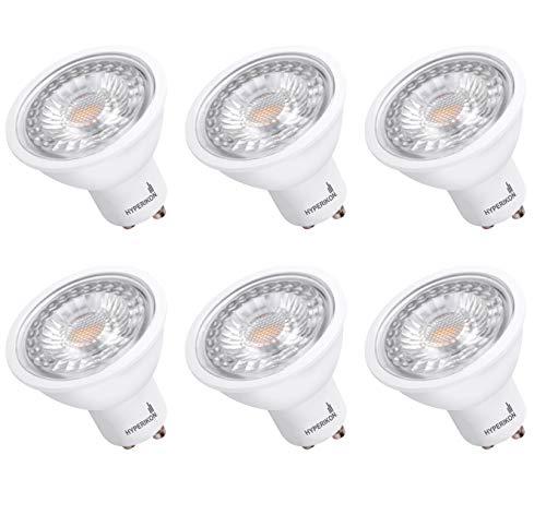 Hyperikon GU10 LED Bulb Dimmable 6.5W=50W, 120V MR16 Light for Track Lighting, UL, Energy Star, Daylight White, 6 Pack