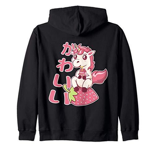 Kawaii Chibi Unicorn Strawberry Milk カワイイ いちごミルク ユニコーン ジップパーカー