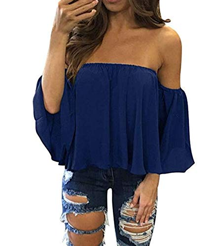 5Five Stylische Bluse mit süßem Kragen aus Chiffon, sexy, lockere Passform, Größe...