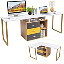 Tangkula 87 inch 2-Person Double Computer Desk, Multifunction L-Shaped Desk w/ 3 Storage Drawers & 2-Tier Shelves, Writing Desk Computer Workstation with Spacious Desktop, Home Office Desk