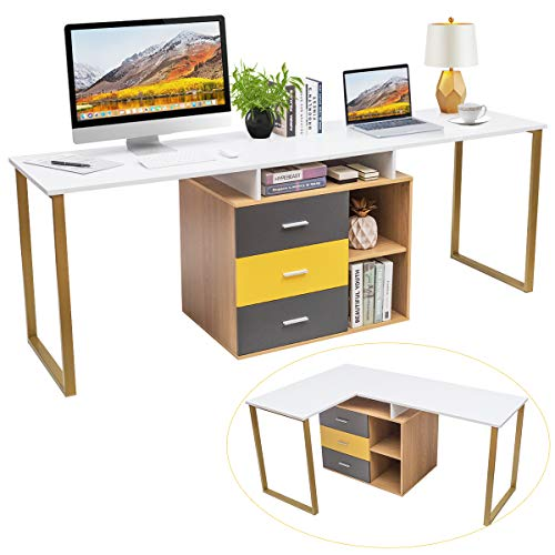 Tangkula 87 inch 2-Person Desk Double Computer Desk, Multifunction L-Shaped Desk w/ 3 Storage Drawers & 2-Tier Shelves, Writing Desk Computer Workstation with Spacious Desktop, Home Office Desk