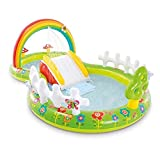 Piscina Inflable de Arco Iris para jardín, Centro de Juegos para niños, Piscinas Grandes para la Familia, tobogán acuático extraíble sobre el Suelo, Piscina