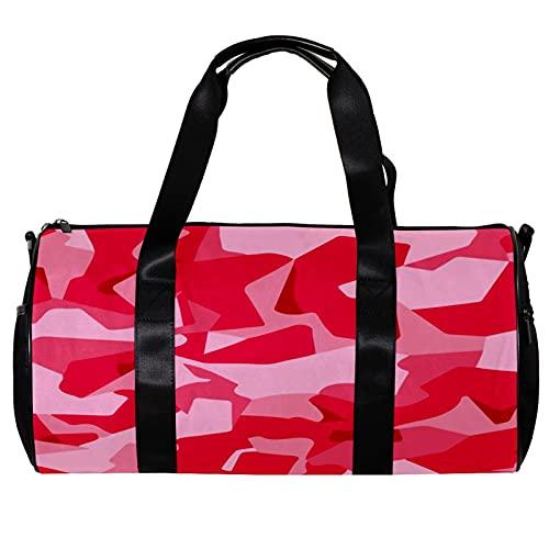 Borsone da palestra rotondo con tracolla staccabile rosa mimetica militare allenamento borsa per donne e uomini