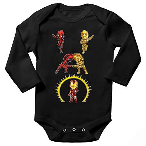 Body bébé Manches Longues Noir Parodie Star Wars - Iron Man - Deadpool, C-3PO et Iron Man - Cyber Fusion !! Yaaahaaa ! (Body bébé de qualité supérieure de Taille 9 Mois - imprimé en France)