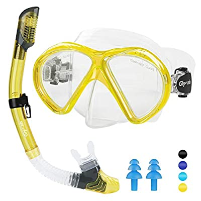 Glymnis Snorkeling Package Set for Adults Anti-Fog Coated Glass Diving Mask Snorkel with Silicon Mouth Piece Purge Valve and Anti-Splash Guard (Yellow-White)