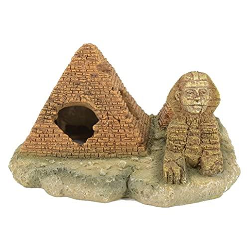MJSHA Aquarium Landscaping Pyramid Sphinx Model,Fish Tank Decorative Resin Ornaments Hideaway Caves House for Fish Tank Reptile Terrarium