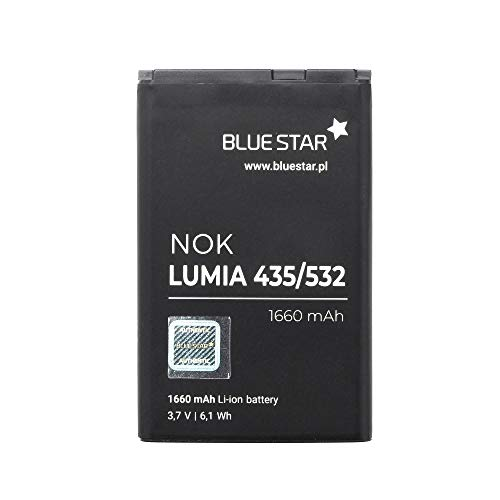 Blue Star Premium - Li-Ion Lithium Akku 1660 mAh Kapazität Schnellladung 2.0 Kompatibel mit dem Microsoft Lumia 435 / 532