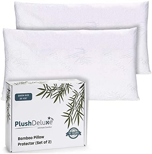 Premium Bamboo Queen Pillow Protector Covers Waterproof Allergy Dust Bed Bug and Mite Proof product image