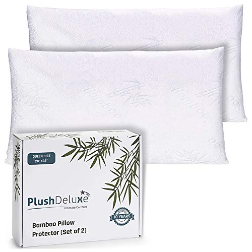 Premium Bamboo Queen Pillow Protector Covers - Waterproof,...