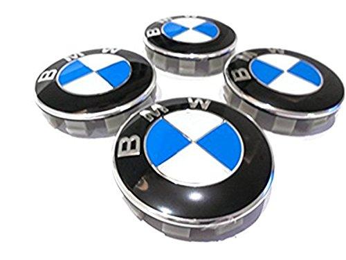 4 x coprimozzo Compatibile con logo Blu e Bianco 68mm 4pz COPRIMOZZO FREGI 68mm PER CERCHI IN LEGA E36 E39 E45 E90 316 318 M3 Z4 X1 X3 X5 Serie1 3
