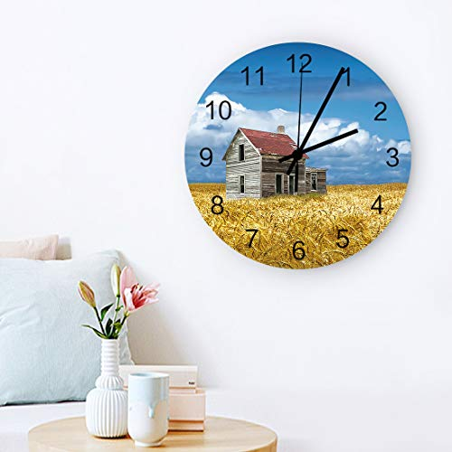 COLORSUM 12' Wooden Round Wall Clock Retro American Countryside Farm Chalet Yellow Field Battery Operated Silent Non Ticking Clock for Living Room Bathroom Kitchen School Decor