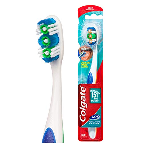Cepillo de dientes Colgate 360 suave, limpiador de lengua y