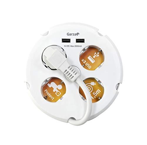 Garza - Base múltiple circular de 4 tomas y 2 puertos USB