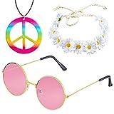 Beelittle Hippie Costume Set - Estilo Retro de los años 60 Gafas Vintage Signo de la Paz ...