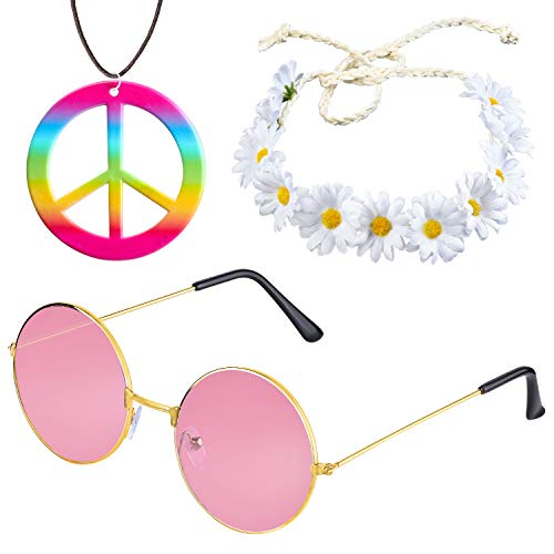 Beelittle Hippie Costume Set - 60's Style Retro Vintage Glasses Peace Sign Necklace Sunflower Crown Hair Band 60s Hippie Dressing Accessory Set (B)