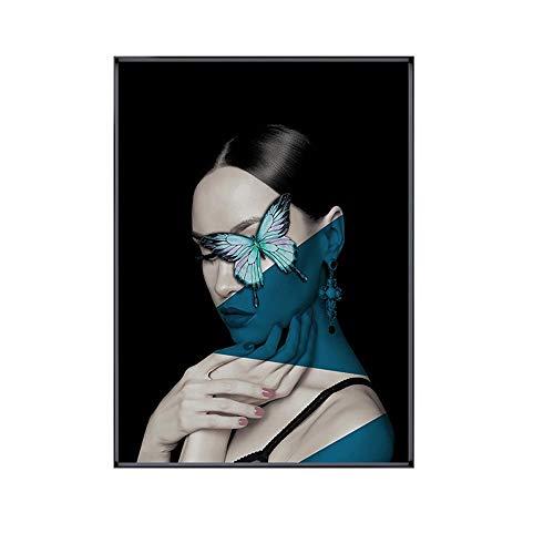WANGXINQUAN Artistas De Pintura Decorativa Blanco y Negro Murales Moderno Minimalista Moda Personalidad