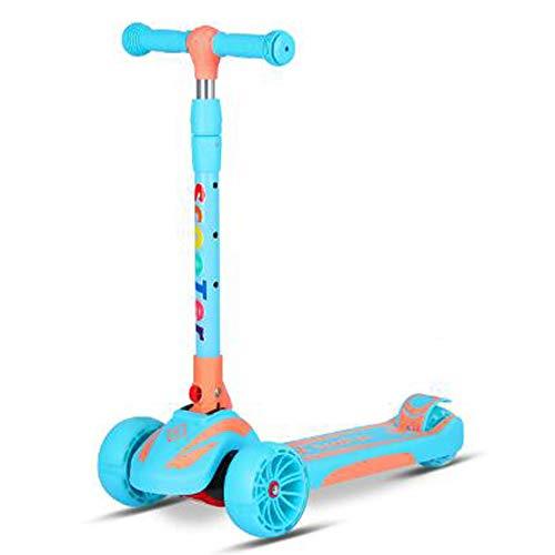 Doblar Vespa, Altura Ajustable Extra Ancho PU Intermitente Ruedas Scooter, para niños de 2 a 8 años de Edad los niños, Las Muchachas de los Mejores Regalos,Azul